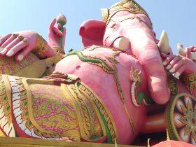 ピンクガネーシャ,ワットサマン,巨大,タイ,バンコク,旅行,観光,家族連れ,パワースポット,楽しい,おすすめ,テーマパーク,遊園地,Wat Saman Rattanaram,Pink Ganesha,วัดสมานรัตนาราม