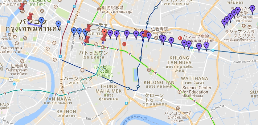 バンコク運河 運航地図