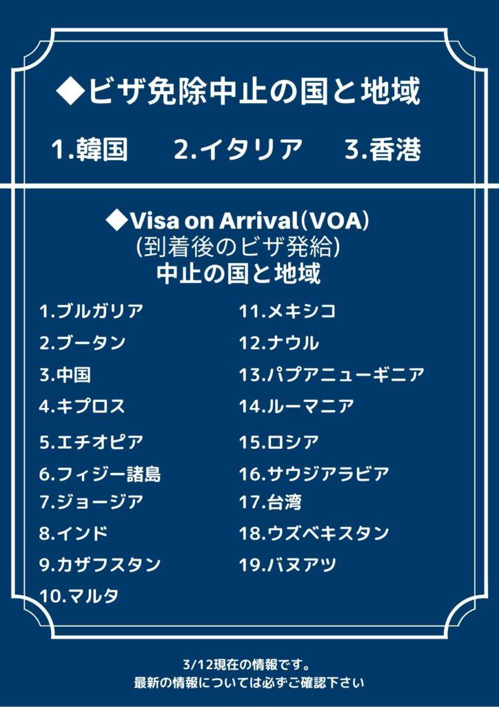 タイ政府、韓国・香港・イタリアのビザ免除停止を決定と到着後のビザ発給停止の国々のリスト